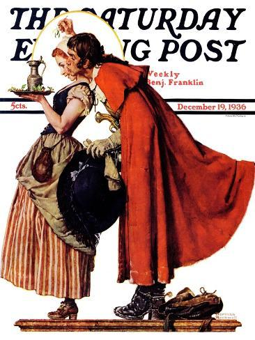 """""""Mistletoe Kiss"""" or """"Feast for a Traveler"""" Saturday Evening Post Cover, December 19,1936-Norman Rockwell-Stretched Canvas Print"""