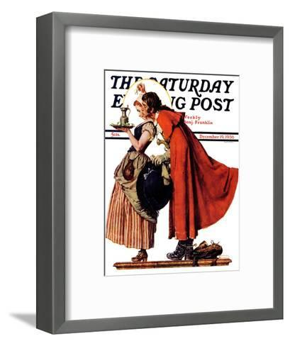 """Mistletoe Kiss"" or ""Feast for a Traveler"" Saturday Evening Post Cover, December 19,1936-Norman Rockwell-Framed Art Print"