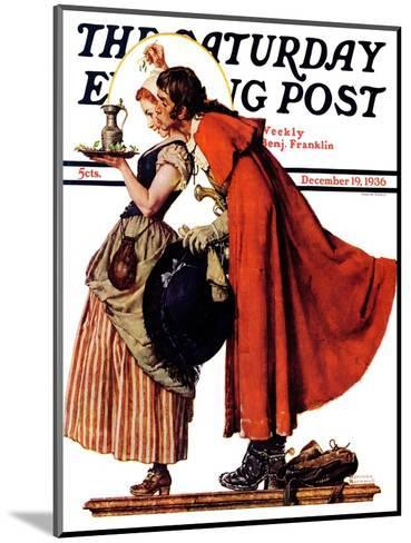 """""""Mistletoe Kiss"""" or """"Feast for a Traveler"""" Saturday Evening Post Cover, December 19,1936-Norman Rockwell-Mounted Giclee Print"""