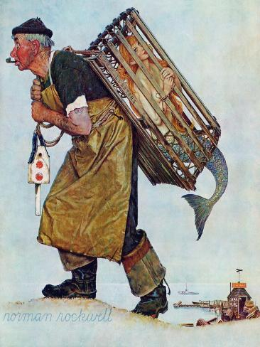 """""""Mermaid"""" or """"Lobsterman"""", August 20,1955-Norman Rockwell-Stretched Canvas Print"""