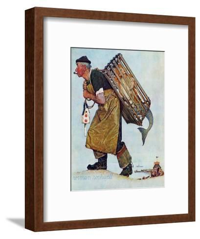 """""""Mermaid"""" or """"Lobsterman"""", August 20,1955-Norman Rockwell-Framed Art Print"""