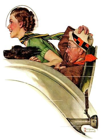 """""""Exhilaration"""", July 13,1935-Norman Rockwell-Stretched Canvas Print"""