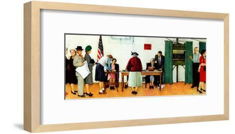 """""""Norman Rockwell Paints America at the Polls"""", November 4,1944-Norman Rockwell-Framed Art Print"""