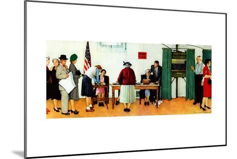 """""""Norman Rockwell Paints America at the Polls"""", November 4,1944-Norman Rockwell-Mounted Giclee Print"""