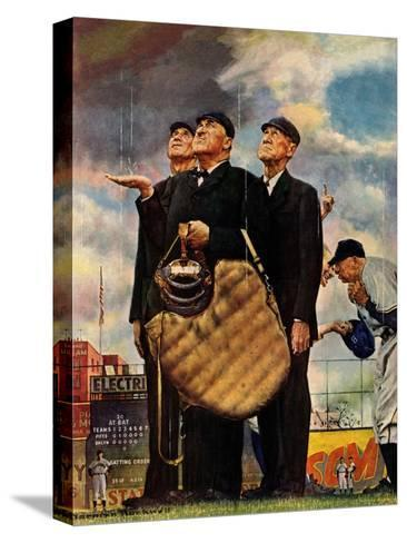 Tough Call - Bottom of the Sixth (Three Umpires), April 23, 1949-Norman Rockwell-Stretched Canvas Print