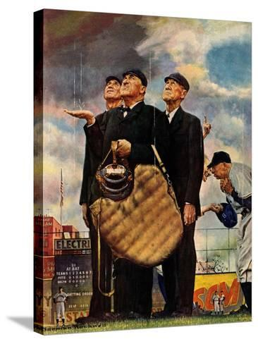 """""""Bottom of the Sixth""""  (Three Umpires), April 23,1949-Norman Rockwell-Stretched Canvas Print"""
