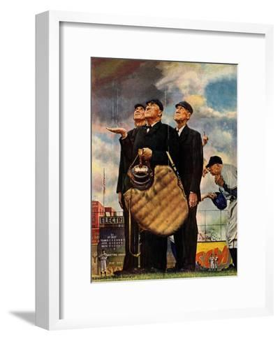 Tough Call - Bottom of the Sixth (Three Umpires), April 23, 1949-Norman Rockwell-Framed Art Print