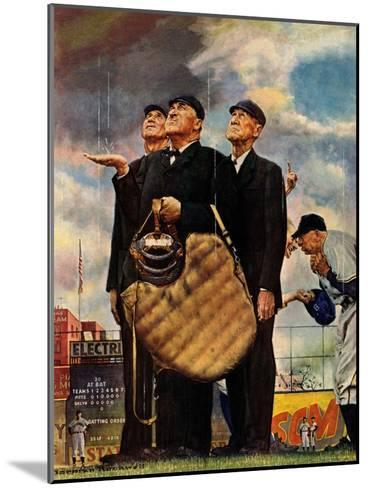 Tough Call - Bottom of the Sixth (Three Umpires), April 23, 1949-Norman Rockwell-Mounted Giclee Print