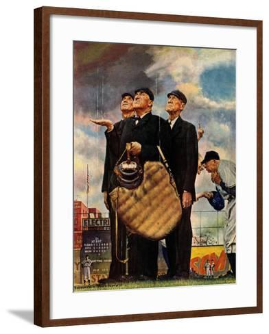 """""""Bottom of the Sixth""""  (Three Umpires), April 23,1949-Norman Rockwell-Framed Art Print"""