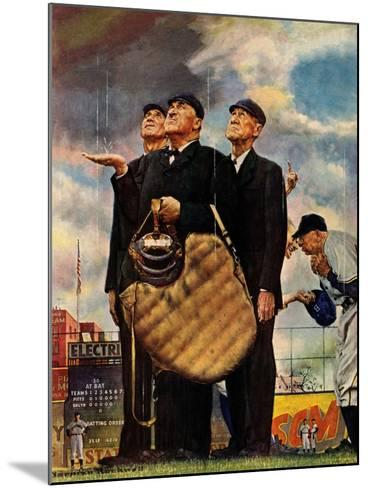 """""""Bottom of the Sixth""""  (Three Umpires), April 23,1949-Norman Rockwell-Mounted Giclee Print"""