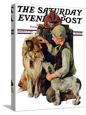 """Making Friends"" or ""Raleigh Rockwell"" Saturday Evening Post Cover, September 28,1929-Norman Rockwell-Stretched Canvas Print"