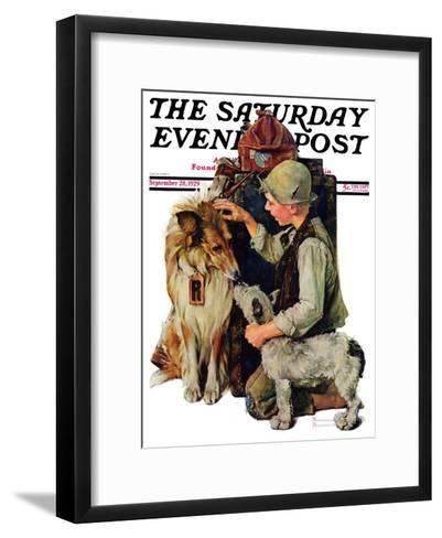 """Making Friends"" or ""Raleigh Rockwell"" Saturday Evening Post Cover, September 28,1929-Norman Rockwell-Framed Art Print"
