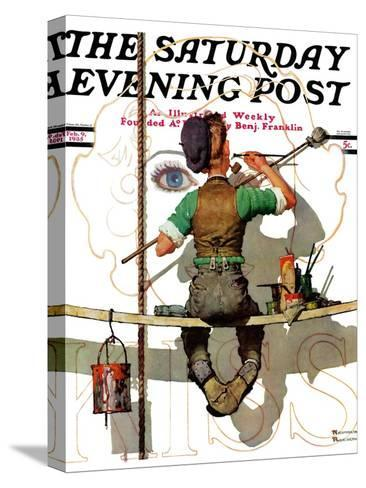 """""""Signpainter"""" Saturday Evening Post Cover, February 9,1935-Norman Rockwell-Stretched Canvas Print"""
