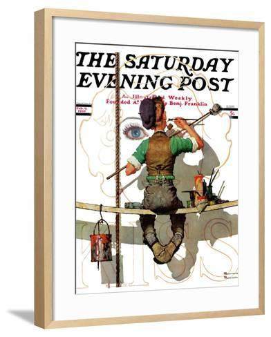 """""""Signpainter"""" Saturday Evening Post Cover, February 9,1935-Norman Rockwell-Framed Art Print"""