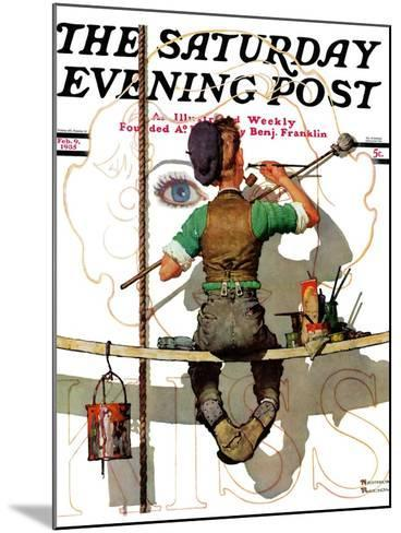 """""""Signpainter"""" Saturday Evening Post Cover, February 9,1935-Norman Rockwell-Mounted Giclee Print"""