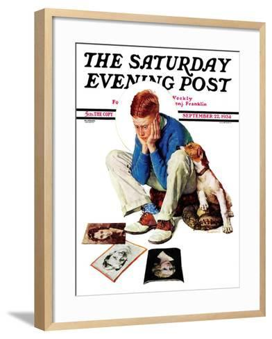 """""""Boy Gazing at Cover Girls"""" Saturday Evening Post Cover, September 22,1934-Norman Rockwell-Framed Art Print"""