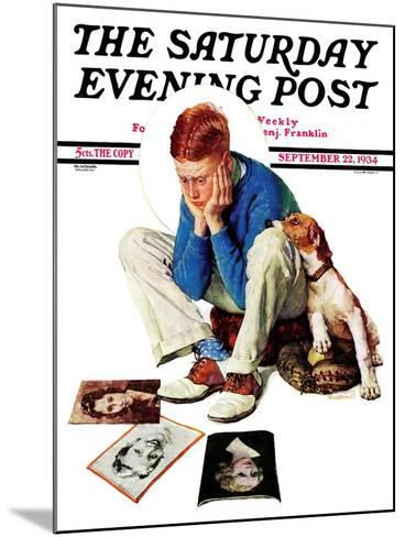 """""""Boy Gazing at Cover Girls"""" Saturday Evening Post Cover, September 22,1934-Norman Rockwell-Mounted Giclee Print"""