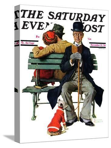 """""""Overheard Lovers"""" (man on park bench) Saturday Evening Post Cover, November 21,1936-Norman Rockwell-Stretched Canvas Print"""