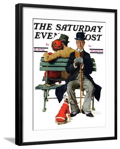 """Overheard Lovers"" (man on park bench) Saturday Evening Post Cover, November 21,1936-Norman Rockwell-Framed Art Print"