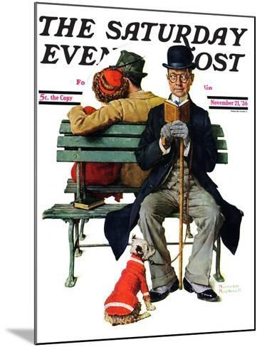 """""""Overheard Lovers"""" (man on park bench) Saturday Evening Post Cover, November 21,1936-Norman Rockwell-Mounted Giclee Print"""