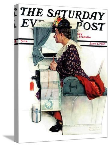 """""""Airplane Trip"""" or """"First Flight"""" Saturday Evening Post Cover, June 4,1938-Norman Rockwell-Stretched Canvas Print"""