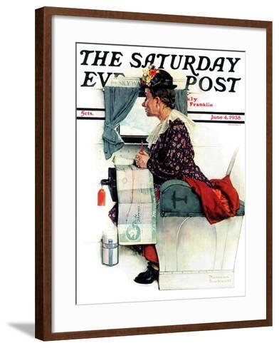 """""""Airplane Trip"""" or """"First Flight"""" Saturday Evening Post Cover, June 4,1938-Norman Rockwell-Framed Art Print"""