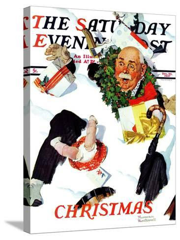 """""""White Christmas"""" Saturday Evening Post Cover, December 25,1937-Norman Rockwell-Stretched Canvas Print"""