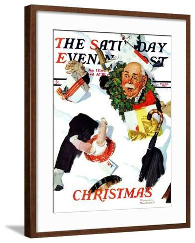 """White Christmas"" Saturday Evening Post Cover, December 25,1937-Norman Rockwell-Framed Art Print"