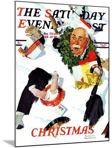 """""""White Christmas"""" Saturday Evening Post Cover, December 25,1937-Norman Rockwell-Mounted Giclee Print"""