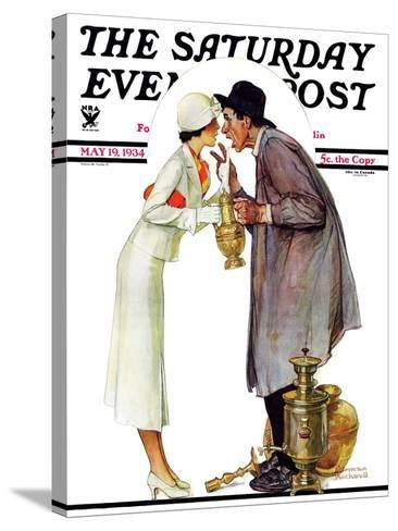 """""""Bargaining with Antique Dealer"""" Saturday Evening Post Cover, May 19,1934-Norman Rockwell-Stretched Canvas Print"""