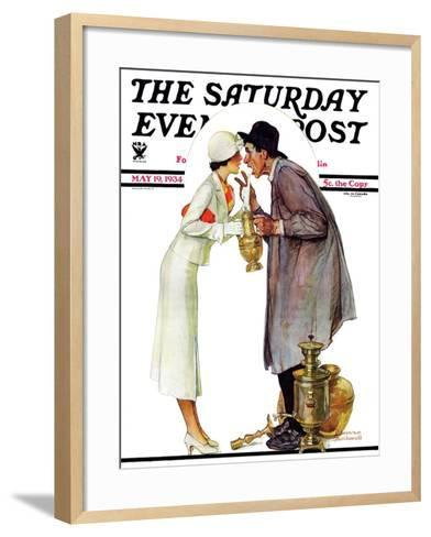 """""""Bargaining with Antique Dealer"""" Saturday Evening Post Cover, May 19,1934-Norman Rockwell-Framed Art Print"""