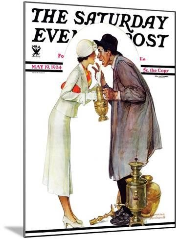 """""""Bargaining with Antique Dealer"""" Saturday Evening Post Cover, May 19,1934-Norman Rockwell-Mounted Giclee Print"""