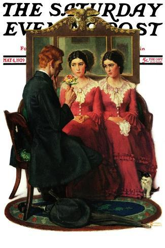 """Man Courting Two Sisters"" Saturday Evening Post Cover, May 4,1929-Norman Rockwell-Stretched Canvas Print"