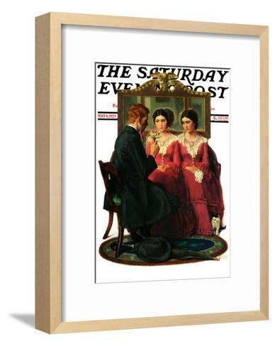"""Man Courting Two Sisters"" Saturday Evening Post Cover, May 4,1929-Norman Rockwell-Framed Art Print"