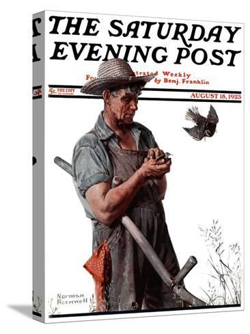 """""""Farmer and the Bird"""" or """"Harvest Time"""" Saturday Evening Post Cover, August 18,1923-Norman Rockwell-Stretched Canvas Print"""