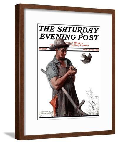 """""""Farmer and the Bird"""" or """"Harvest Time"""" Saturday Evening Post Cover, August 18,1923-Norman Rockwell-Framed Art Print"""