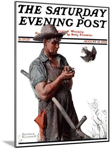 """""""Farmer and the Bird"""" or """"Harvest Time"""" Saturday Evening Post Cover, August 18,1923-Norman Rockwell-Mounted Giclee Print"""