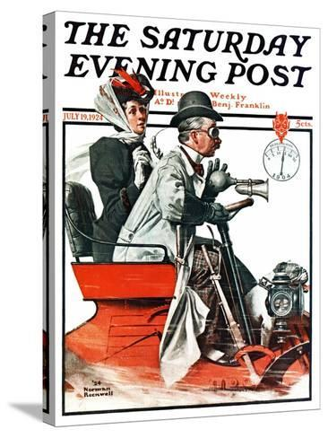 """""""Speeding Along"""" Saturday Evening Post Cover, July 19,1924-Norman Rockwell-Stretched Canvas Print"""