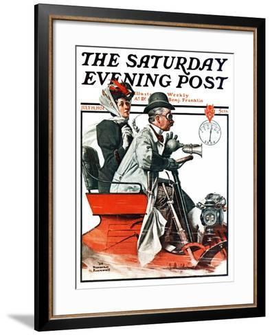 """Speeding Along"" Saturday Evening Post Cover, July 19,1924-Norman Rockwell-Framed Art Print"