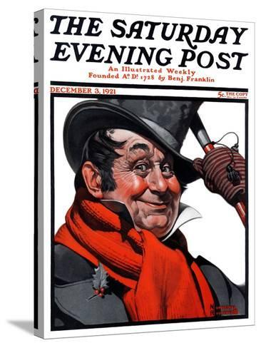 """Merrie Christmas"" Saturday Evening Post Cover, December 3,1921-Norman Rockwell-Stretched Canvas Print"