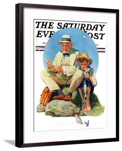 """Catching the Big One"" Saturday Evening Post Cover, August 3,1929-Norman Rockwell-Framed Art Print"