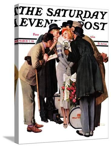 """Hollywood Starlet"" Saturday Evening Post Cover, March 7,1936-Norman Rockwell-Stretched Canvas Print"