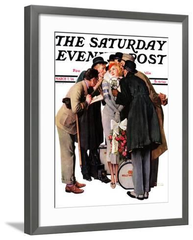 """""""Hollywood Starlet"""" Saturday Evening Post Cover, March 7,1936-Norman Rockwell-Framed Art Print"""