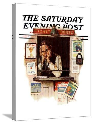"""""""Ticket Agent"""" Saturday Evening Post Cover, April 24,1937-Norman Rockwell-Stretched Canvas Print"""