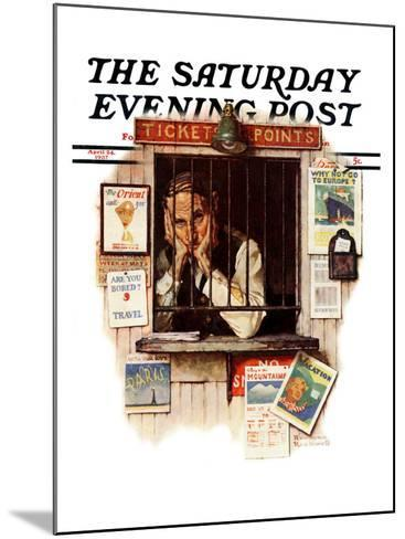"""""""Ticket Agent"""" Saturday Evening Post Cover, April 24,1937-Norman Rockwell-Mounted Giclee Print"""