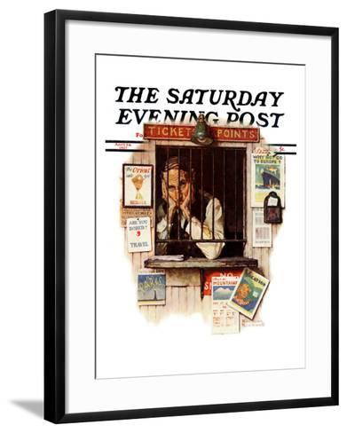 """""""Ticket Agent"""" Saturday Evening Post Cover, April 24,1937-Norman Rockwell-Framed Art Print"""