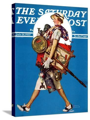 """""""At the Auction"""" or """"Found Treasure"""" Saturday Evening Post Cover, July 31,1937-Norman Rockwell-Stretched Canvas Print"""
