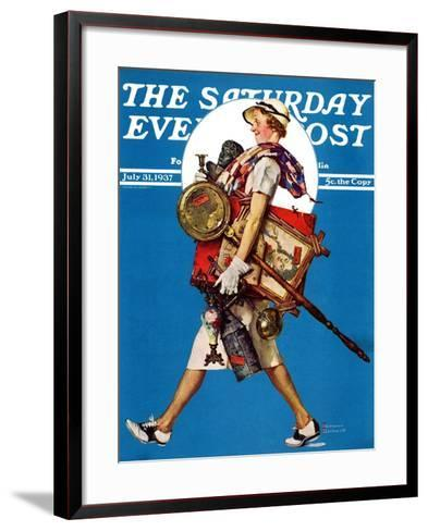 """""""At the Auction"""" or """"Found Treasure"""" Saturday Evening Post Cover, July 31,1937-Norman Rockwell-Framed Art Print"""