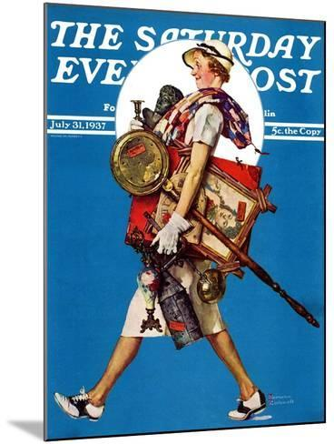 """""""At the Auction"""" or """"Found Treasure"""" Saturday Evening Post Cover, July 31,1937-Norman Rockwell-Mounted Giclee Print"""