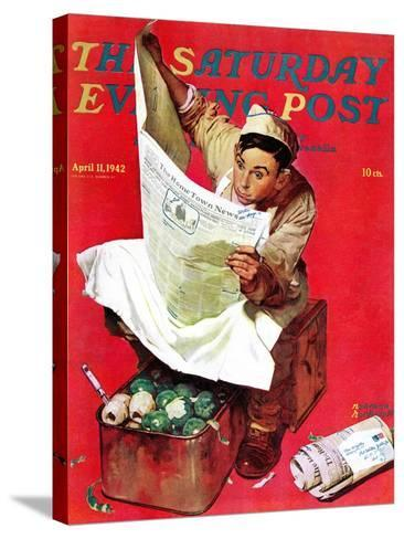 """""""Willie Gillis on K.P"""" Saturday Evening Post Cover, April 11,1942-Norman Rockwell-Stretched Canvas Print"""